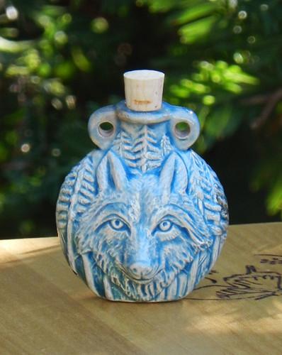 Wolf Ceramic Bottle . Spell Oils, Diffuser, Ashes, Pendant