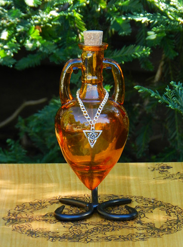 Potion Bottle CELTIC WITCH with Metal Stand - Burnished Amber with Silver Triquetra Charm