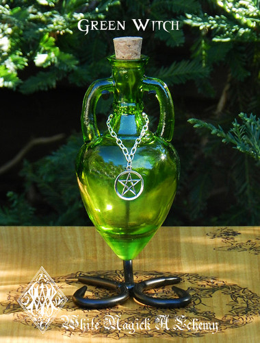 Potion Bottle GREEN WITCH with Metal Stand - Emerald Chartreuse with Silver Pentacle Charm