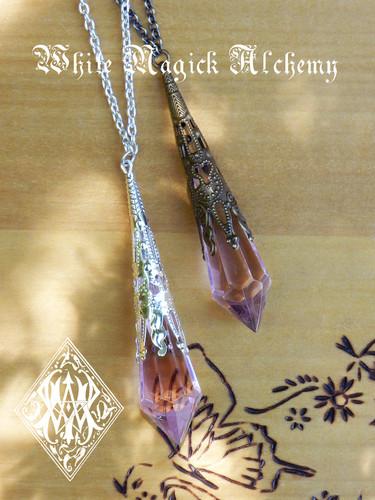 Princess . Silver Magickal Prism Divination Pendulum Necklace . Silver Filigree Pendant . 30 inch