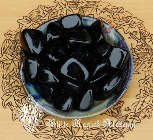 Black Obsidian Tumbled Gemstones Set of 2 . Change, Negativity, Stress