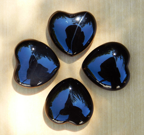 Black Obsidian Gemstone Heart . Strength, Focus, Self Confidence