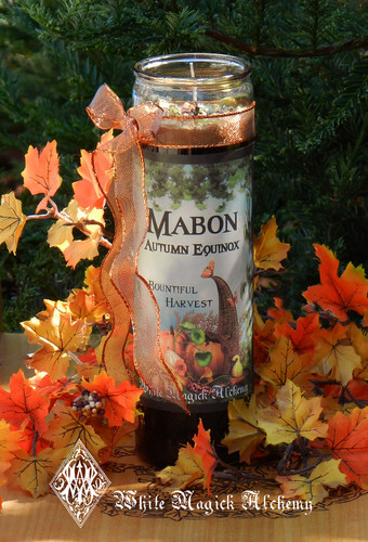 Mabon Autumn Equinox Glass Vigil Candles for Harvest Ritual, Celebrations & Feasting Tables