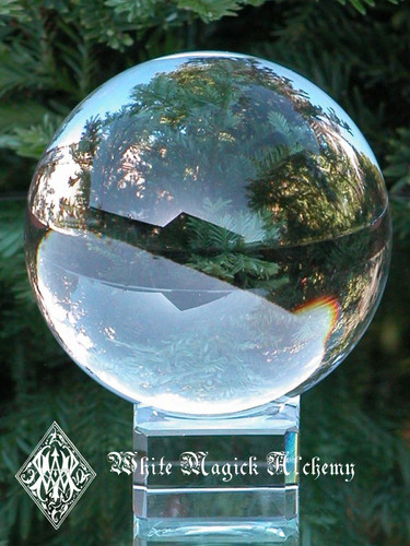 """Crystal Glass Ball and Stand 2"""" for Divination Workings, Scrying, Foretelling the Future"""