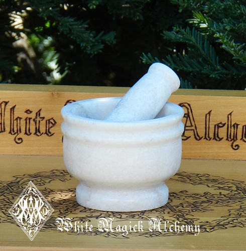 White Witches Mortar and Pestle Set