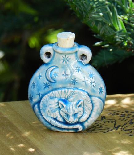 Sleeping Kitty Ceramic Bottle . Spell Oils, Diffuser, Ashes, Pendant