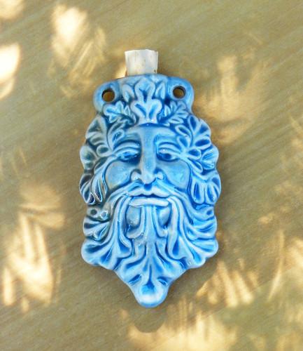 Greenman Ceramic Bottle . Spell Oils, Diffuser, Ashes, Pendant