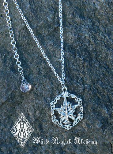 Pentacle Tree of Life Hand Cast Pendant Necklace Solid Sterling Silver with Champagne Crystal Drop - Choose Color