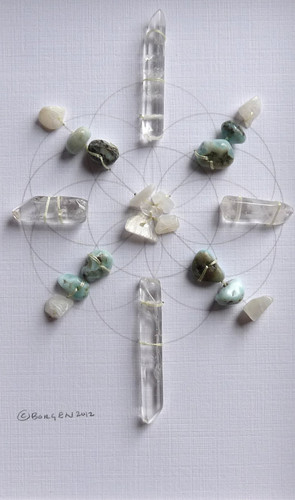 Crystal Grid PEACEFUL SLEEP with Moonstone, Larimar and Crystal Quartz