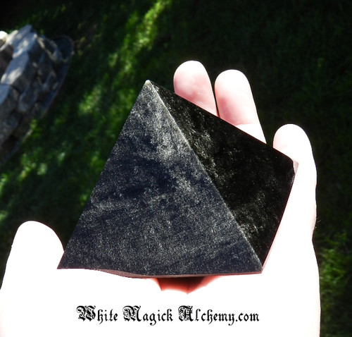 "Black Obsidian GOLD SHEEN Large Glossy Crystal Gemstone Pyramid 3"" . Protection, Peace, Deflecting Negative Energies, Stress and Anxiety"