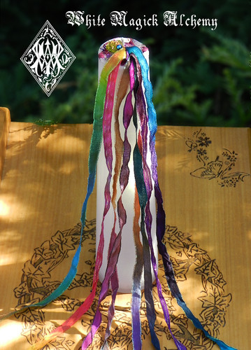 Beltane Ribbons Maypole Torch Light Pillar Candle 2x9 . Flora and Faeries, Beltane, Sex Magic, Fertility