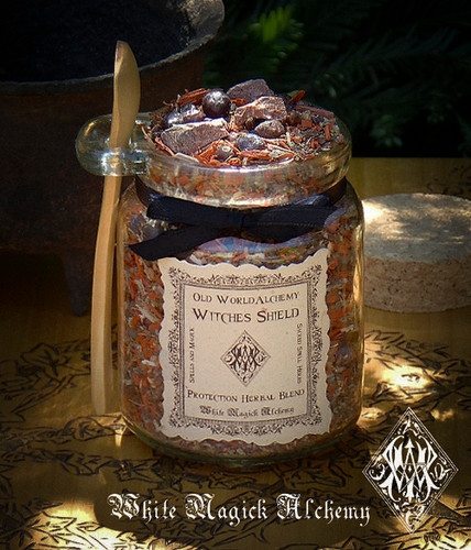 WITCHES SHIELD Proprietary Protection Herbal Spell Blend 8.5 Ounce Jar with Wooden Spoon