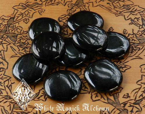 Jet Flat Scrying Palm Stones Black Amber