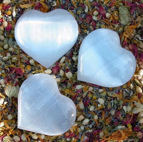 "Selenite Gemstone Heart Medium 2.5"""