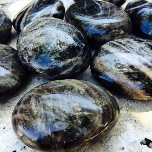 Black Moonstone Palm Stones with Rainbows Jumbo Sized