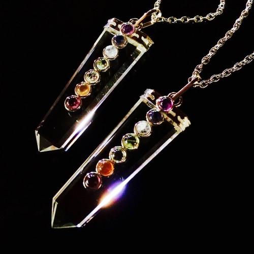 Quartz Chakra Pendant Necklace in Silver