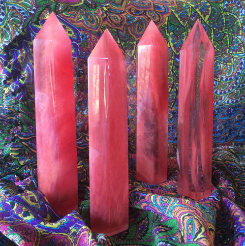 Cherry Quartz Standing Points . Large Quartz with Cinnabar Infusion