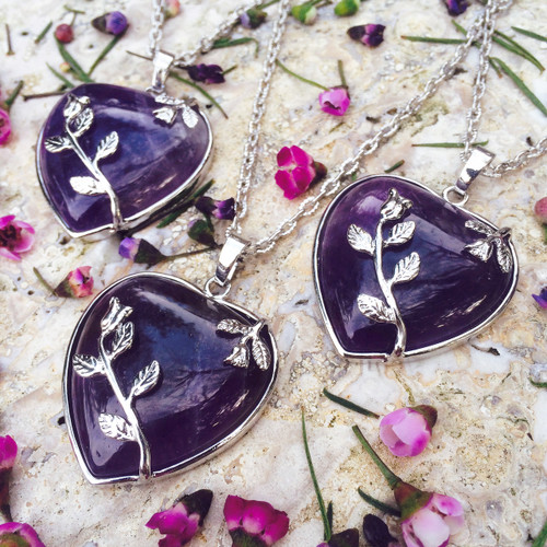 Amethyst Gemstone Heart Pendants, The Stone of Love, Healing, Change & Balance