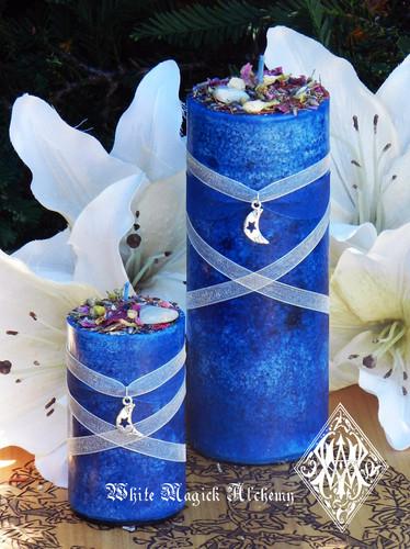 "Blue Moon Celestial Lunar Alchemy Pillar Candle 2.5x6"" for Full Moon Rites"