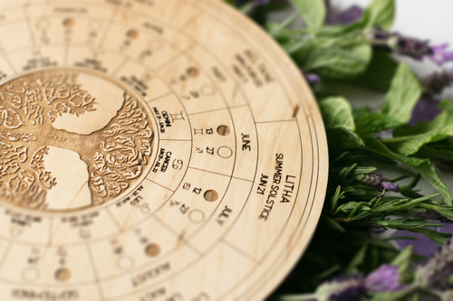 Wheel of the Year Wooden Plaque Board with Pagan Holidays, Moon Phases & Astrological Calendar  2018