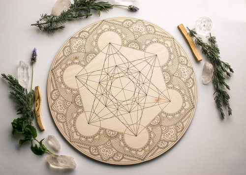 Sacred Geometry Metatron's Cube Mandala Wooden Crystal Grid Altar Board Large 14""