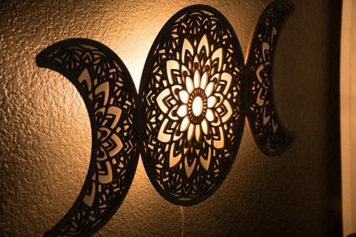 Triple Moon Goddess Hanging Lamp Light