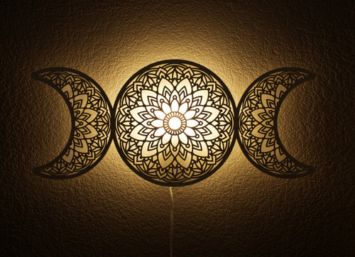 Triple Moon Goddess Hanging Lamp Light