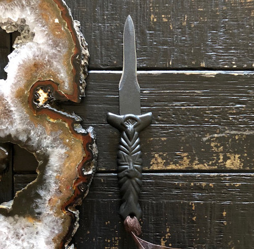 Black Spider Mini Athame Ritual Dagger Boot Knife