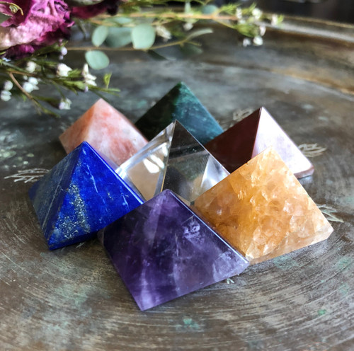 Chakra Pyramid Gemstone Super Set of Seven for Good Health, Positive Energy Flow & Balance