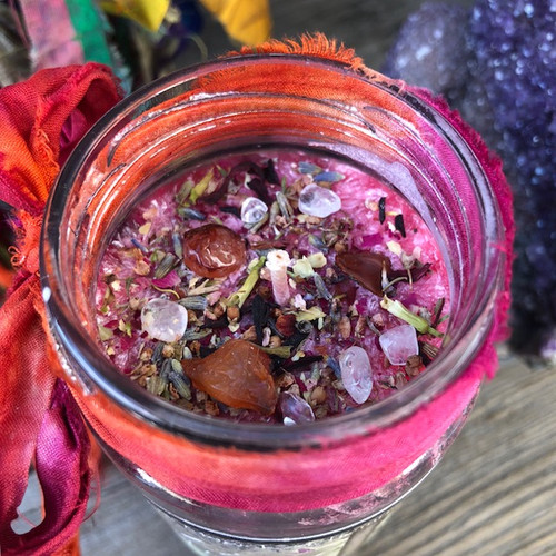 Litha Midsummers Night Magic Glass Vigil Candle . Summer Solstice, Midsummer Magic