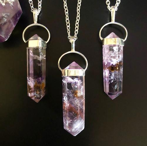 Super Seven Pendulum Necklace, Super 7 Crystal Gemstone for Divine Enlightenment & More