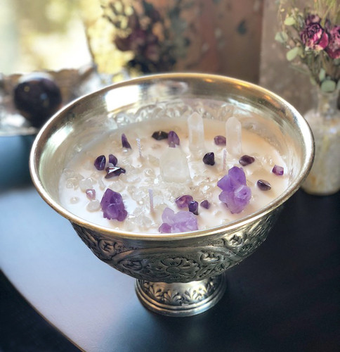 Crystal Goddess Gemstone Chalice with Amethyst & Quartz - Alchemy Ritual Sacred Crystal Chalice Candles