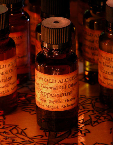 Peppermint Essential Oil . White Magick Alchemy Pure Essential Dilute . Strength, Sleep, Psychic Ability, Healing, Luck, Quickens Spells