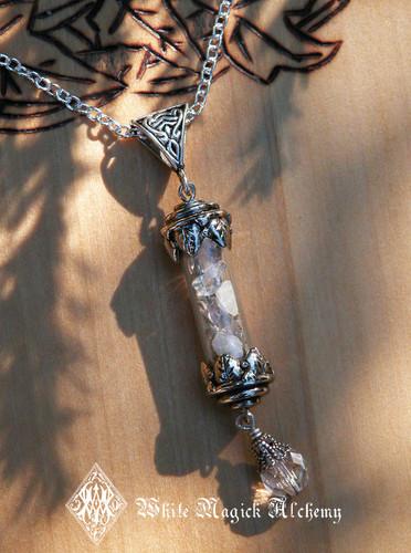 Witches Wisdom Alchemy Pendant Charm Necklace . Sacred Sage, Crystal Quartz, Healing, Spiritual Awakening, Abundance