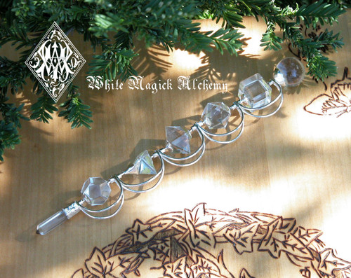 Crystal Quartz Gemstone Wand . 5 Hand Cut Stones, Crystal Quartz Ball and Point . Ultimate Power Stone . Protection, Healing, Mental Clarity, Balance, Spiritual Workings