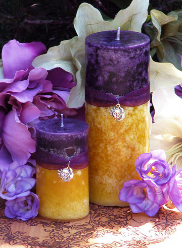 Purple Sun Sunset Pillar Candles for Spring, Summer Solstice, Evening Illumination, Love. Exotic Wild Jasmine, Orange Honey, Spring Flora, Vanilla Bean