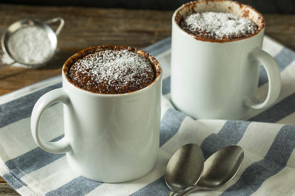 This easy mug cake is tasty and fast to make.