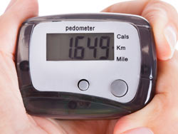Walk 8000 steps a day by using a pedometer.