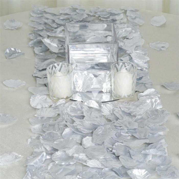 Metallic Silver Silk Rose Petals (100 Pieces)