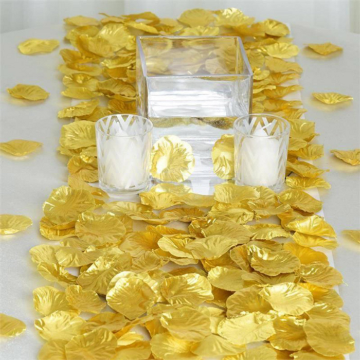 Metallic Gold Silk Rose Petals (100 Pieces)
