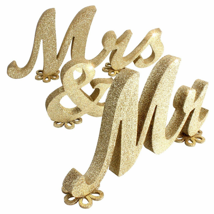 Mr and Mrs Sign Wedding - Gold