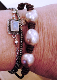 Island Bracelet with freshwater baroque pearls, stack them on!