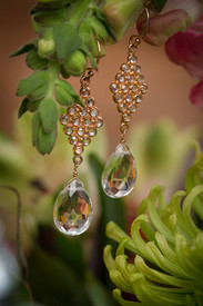 Rose Gold White Topaz Earrings