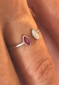 tourmaline and two pave diamonds
