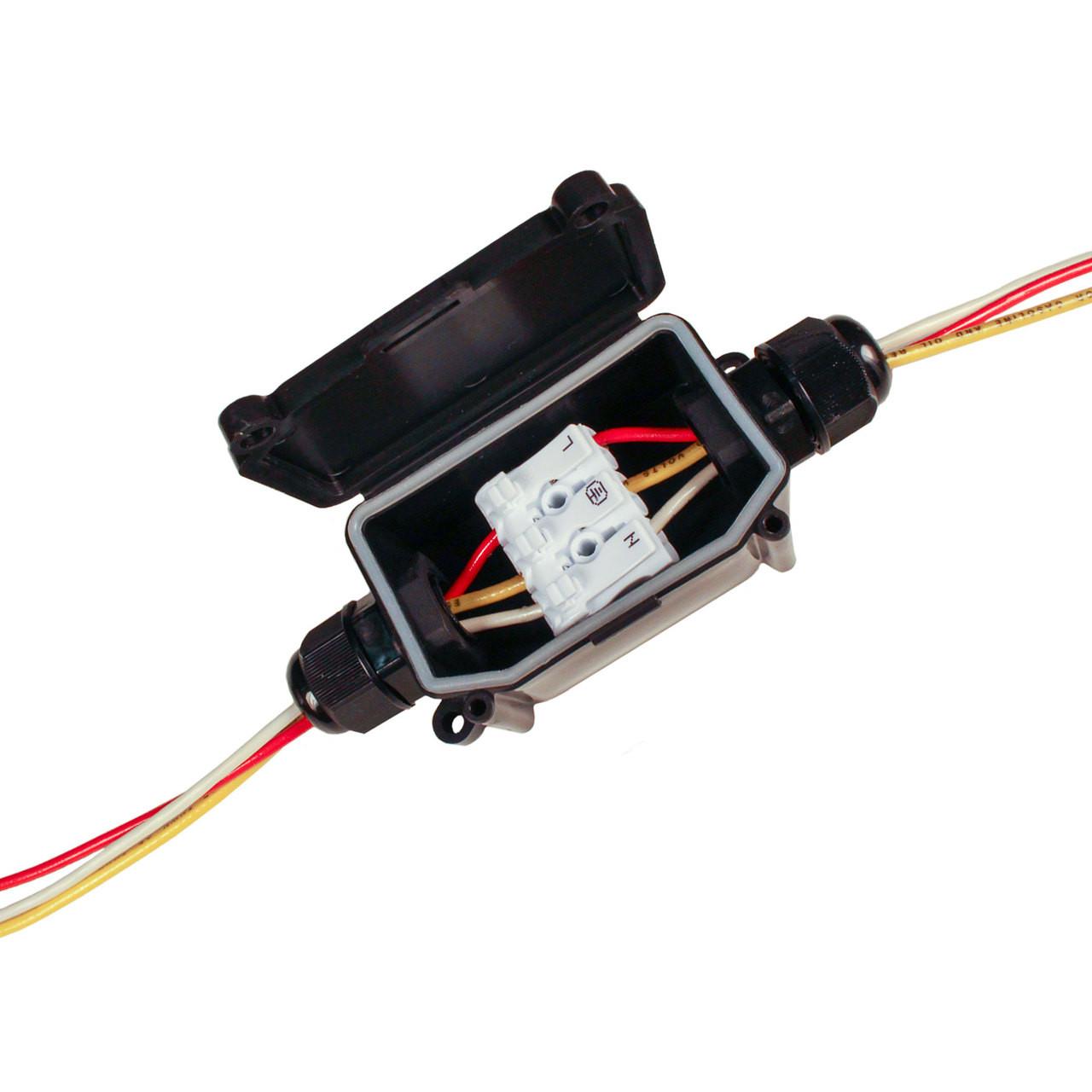 indoor outdoor 3 wire junction box with connector 215junction s rh actionlighting com Outdoor Weatherproof Box Weatherproof Phone Box