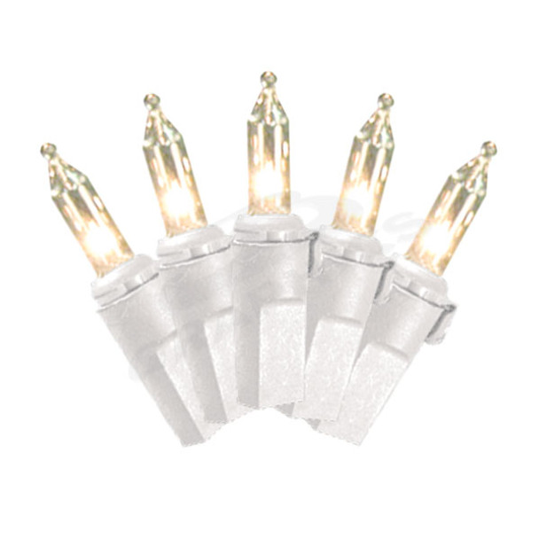 50 Lamp Incandescent Mini Light Set - #20 White Wire with Clear Bulbs