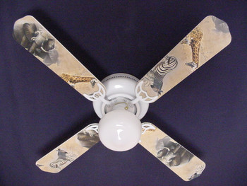 "African Safari Elephant Zebra Ceiling Fan 42"" 1"