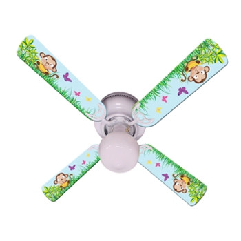 "Baby Monkey Mischief With Banana Ceiling Fan 42"" 1"