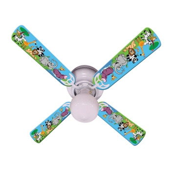 """Jungle Party Animals Ceiling Fan 42"""" 1"""