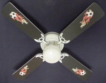 "Flaming Soccer Balls Ceiling Fan 42"" 1"